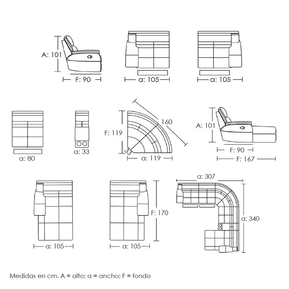 Sof 4 plazas con el ctricos y cheslong boston piel for Medidas sofa cheslong