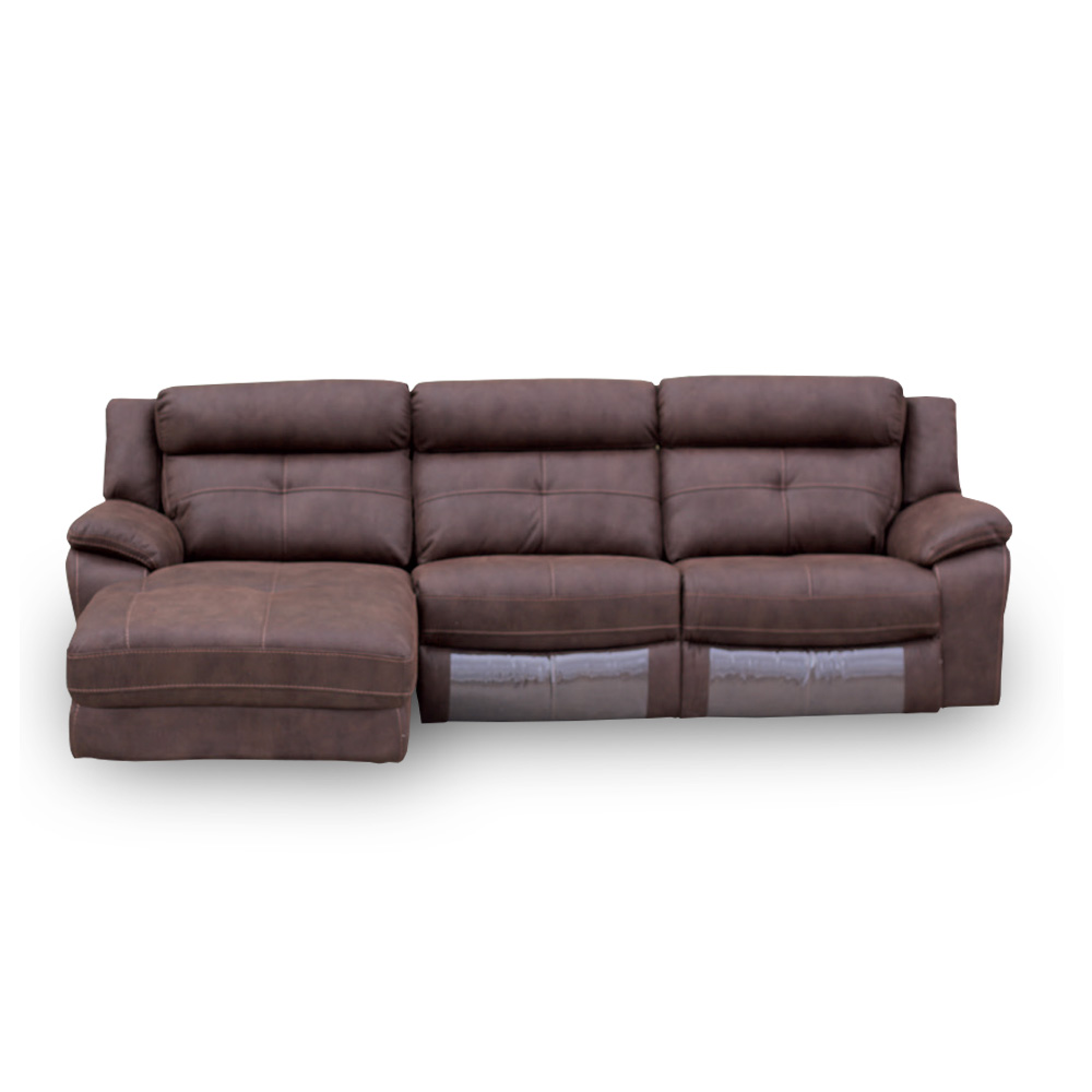 Sof 3 plazas con cheslong boston royal nobuck canalhome for Sofas 3 plazas mas cheslong